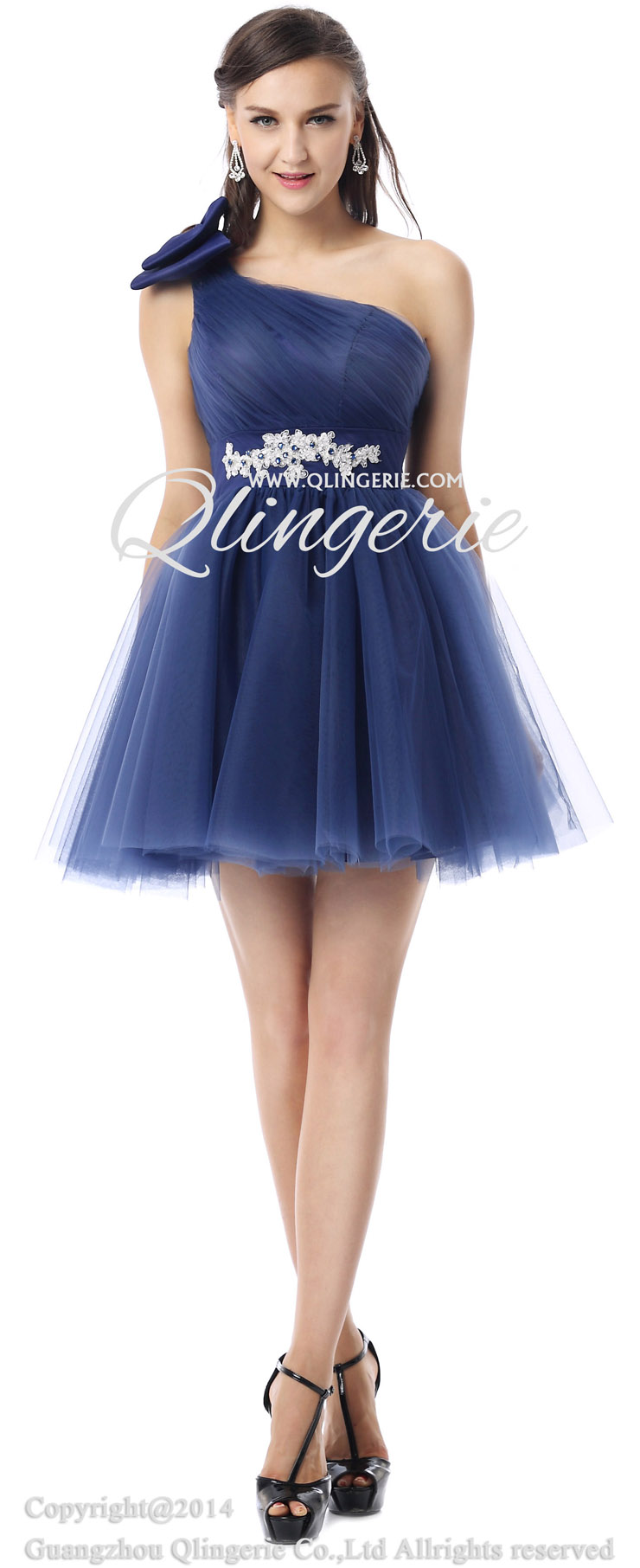 Beading Sweet 16 Blue Short Mini Satin Special Occasion Dress 007
