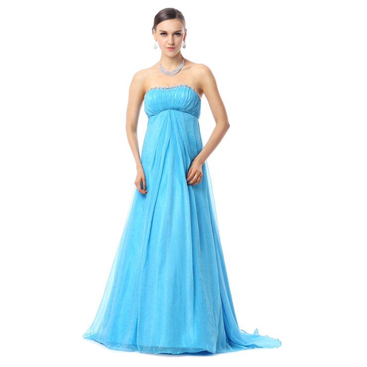 2016 Charming Blue A-line Strapless Empire Chiffon Hot Drilling Long Prom Dresses Y30030