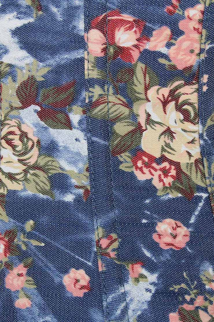Floral Fantasy Underbust Corset, Floral Corset, Blue Floral Underbust Corset, #N5513