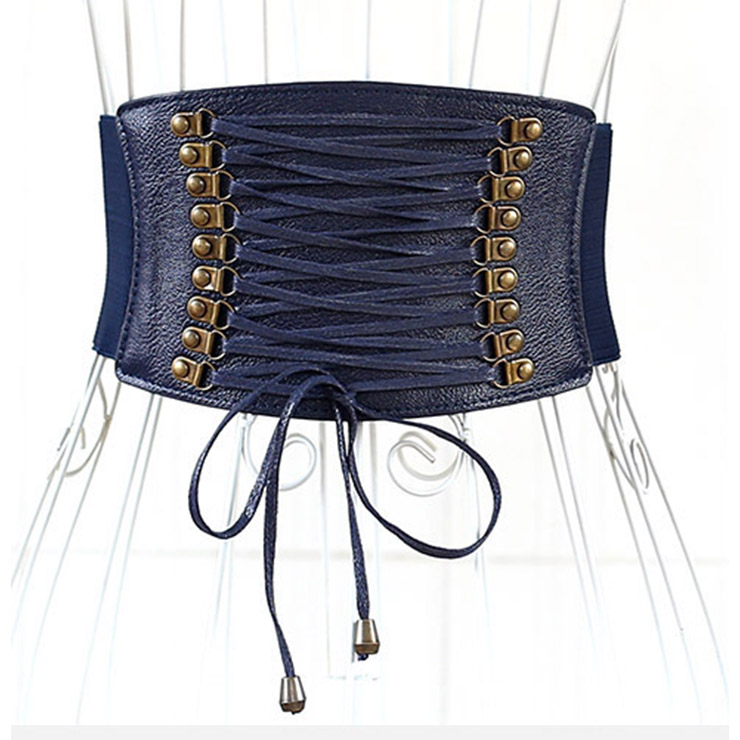 Blue Leather Front Lace Up High Waisted Cincher Corset Belt N14792
