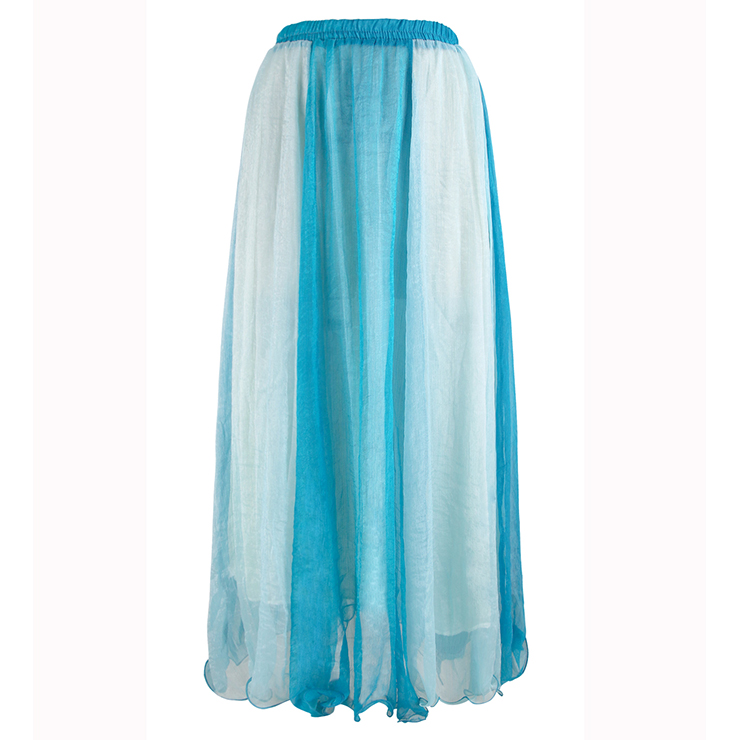 Blue Gradient Maxi Boho Skirt N9065
