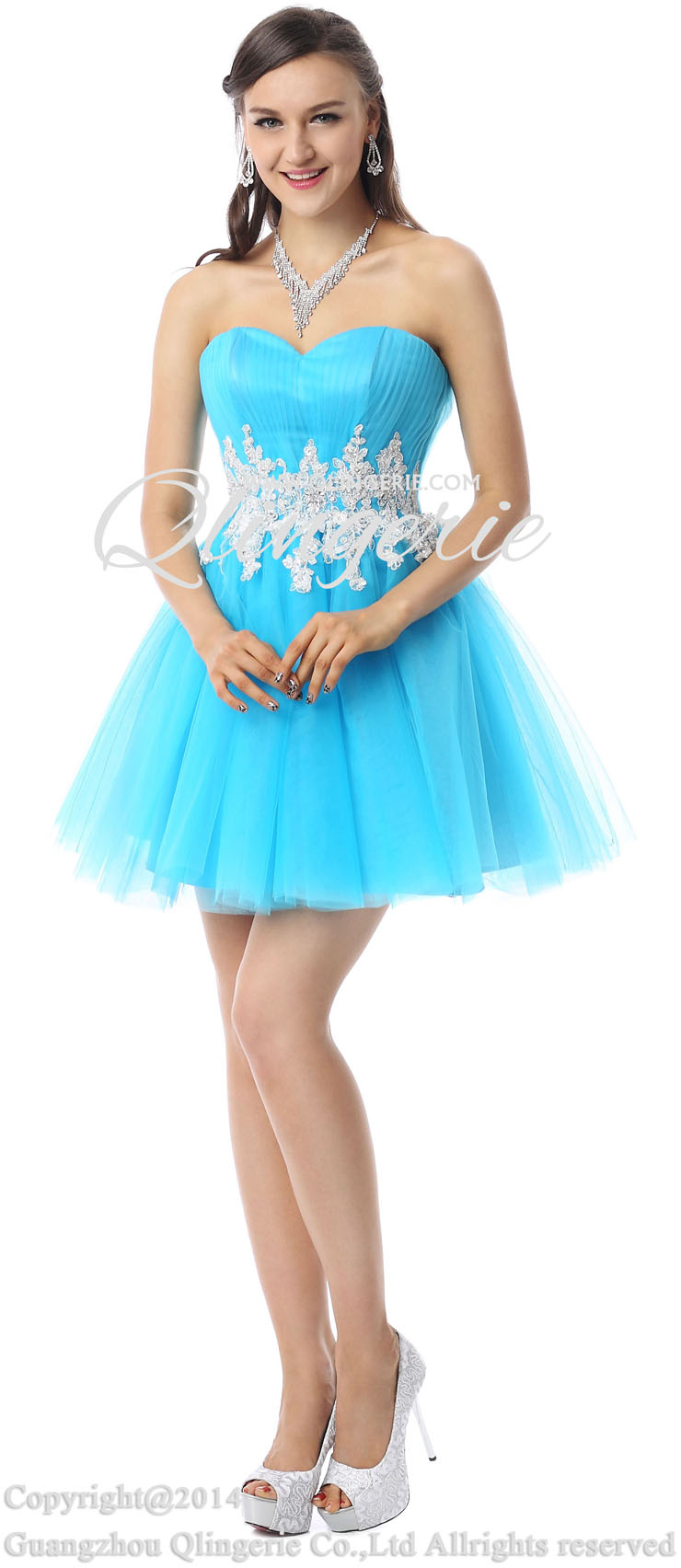 2018 Pretty Blue A-line Sweetheart-neck Lace Beading Short ...