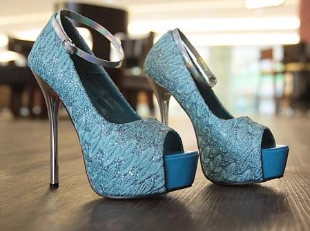 Blue Lace Platform Heels SWS12116