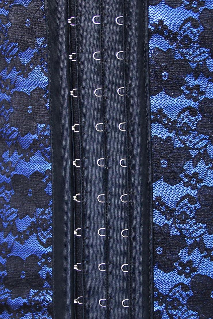 9 Steels Boned Bustier Corset, Cheap Blue Lace Bustier, Women