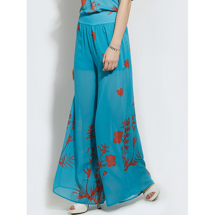 Women's Blue Loose Pleated Plant Print Full Length Wide Leg Pant N14382