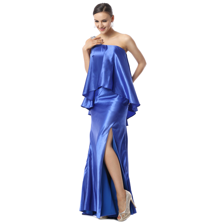 2017 Exclusive Blue One-shoulder Split-Front Satin Long Evening Dresses F30007