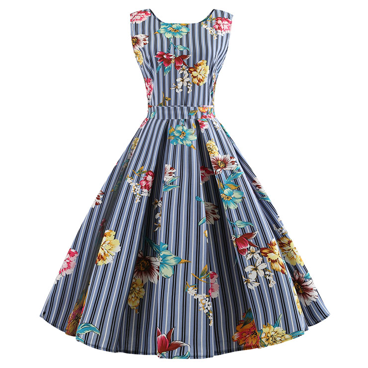 Blue Strips Women's Retro Round Neck Sleeveless Floral Printed Swing Summer Day Dress N18592