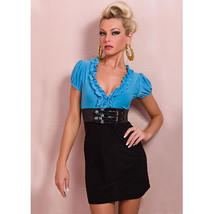 Sexy Blue and Black Ruffled V Neck Short Sleeve Belt Summer Party Mini Dress N20535