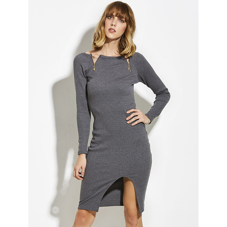 Midi Dresses, Casual Dresses For Women, Daily Dresses, Slim Fitting A-line Dresses, Boat Neck Gray Dress, Party Dress, Wedding Guest Dresses, #N14946