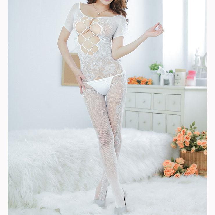 Sexy White Bodysuit Lingerie Short Sleeve Hollow Out Crotchless Bodystocking BS16664