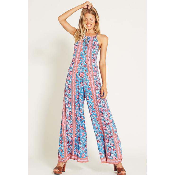 Fashion Blue Bohemia Style Floral Print Casual Holiday Beach Wide LegsJumpsuit N17273