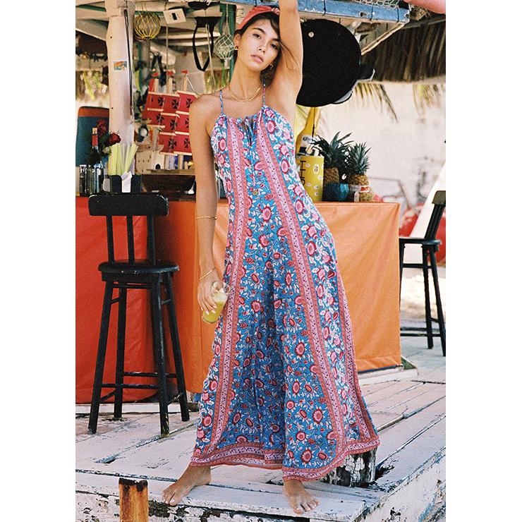 Wide LegFloral Print Jumpsuit, Bohemia Jumpsuits for Women, Bohemia Style Beach Jumpsuit, Sleeveless Floral Print Jumpsuit, Holiday Beach Wide Legs Jumpsuit, #N17273