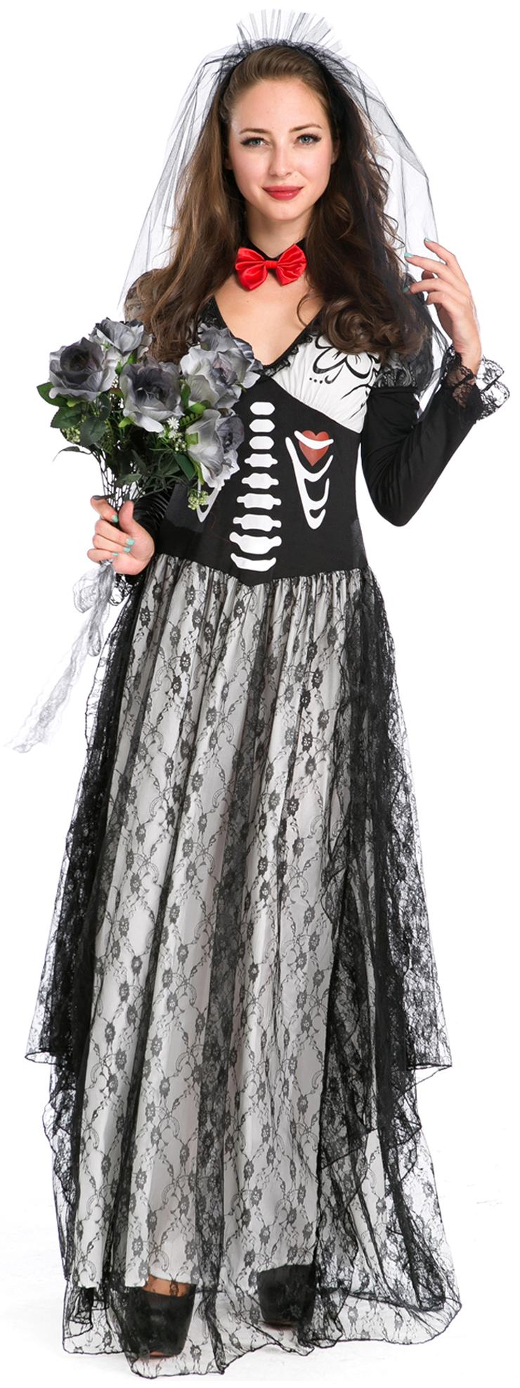 Day of the Dead Boneyard Bride Costume, Deluxe Skeleton Bride Costume, Bone Yard Ghost Bride Costume, #N9124