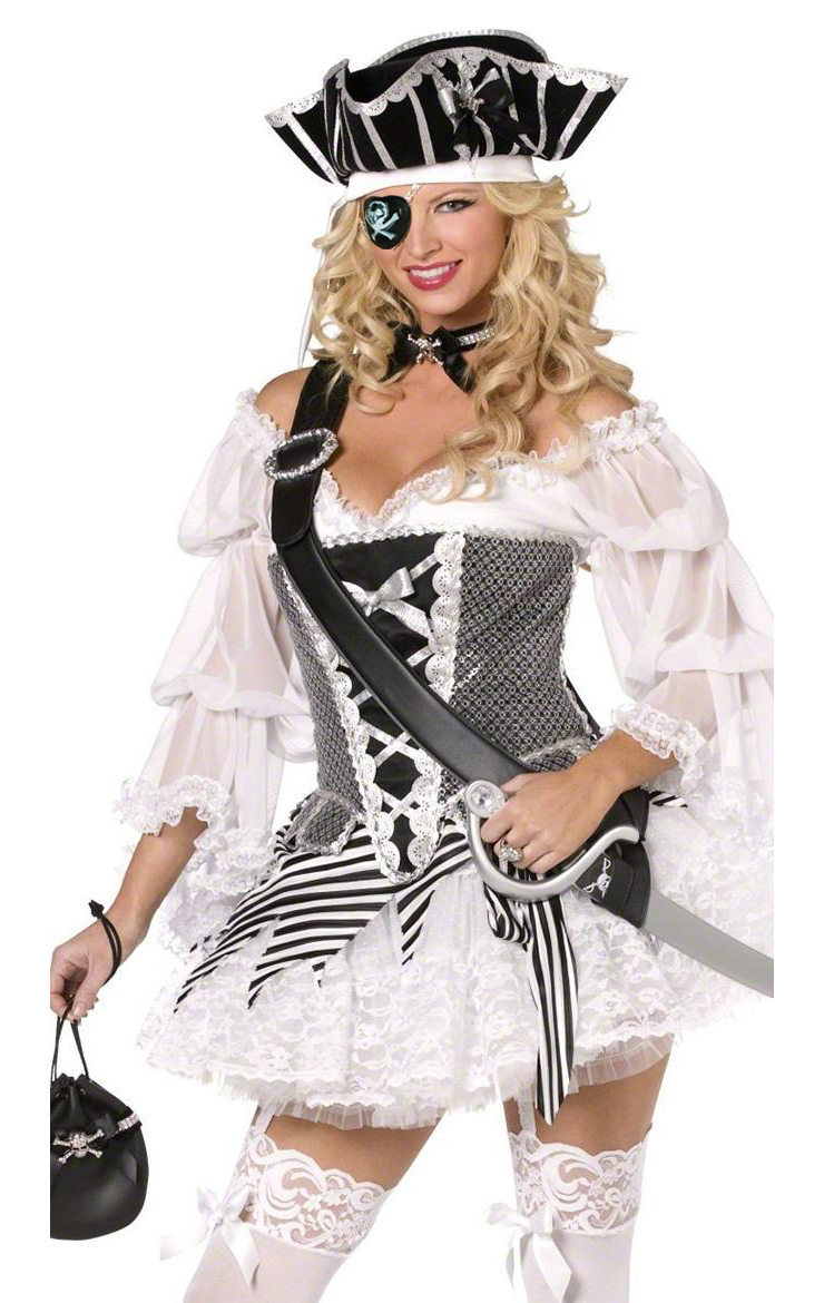 Boutique Pirate Costume, Sexy Pirate Costume for Women, Sexy Pirate Dress Corset and Hat, #P6379