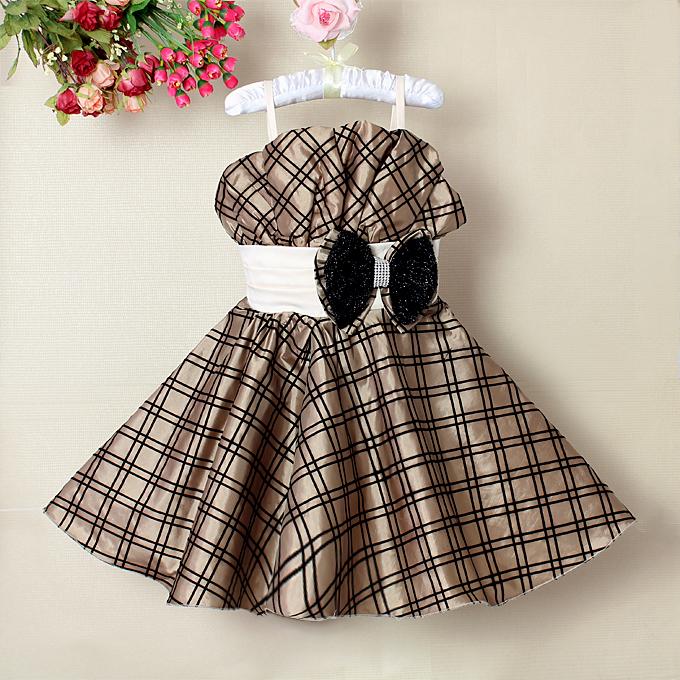 Bowknot Brown Plaid Pageant Dress N9120