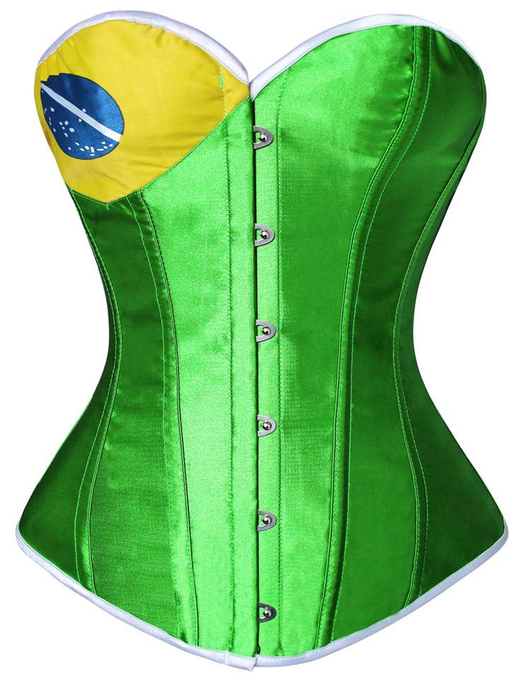 Brazil Flag Corset, Brazil Flag Pin Up Corset, Fashion Brazil Flag Corset, #N8074