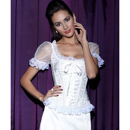 Short Sleeves Lace Up Corset, Floral Brocade Lace Up Corset, Bridal Jacquard Organza Sleeves Corset, #N8398