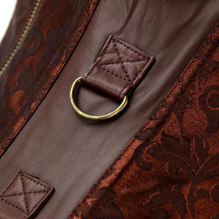 Steampunk Overbust Corset, Jacquard Corset, Faux Leather Corset, Steel Bone Corset, Vintage Corset, #N12406
