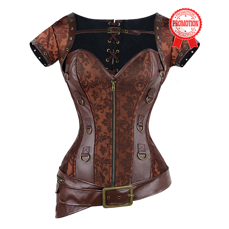 Brocade & Faux Leather Shrug & Belt Corset N7941