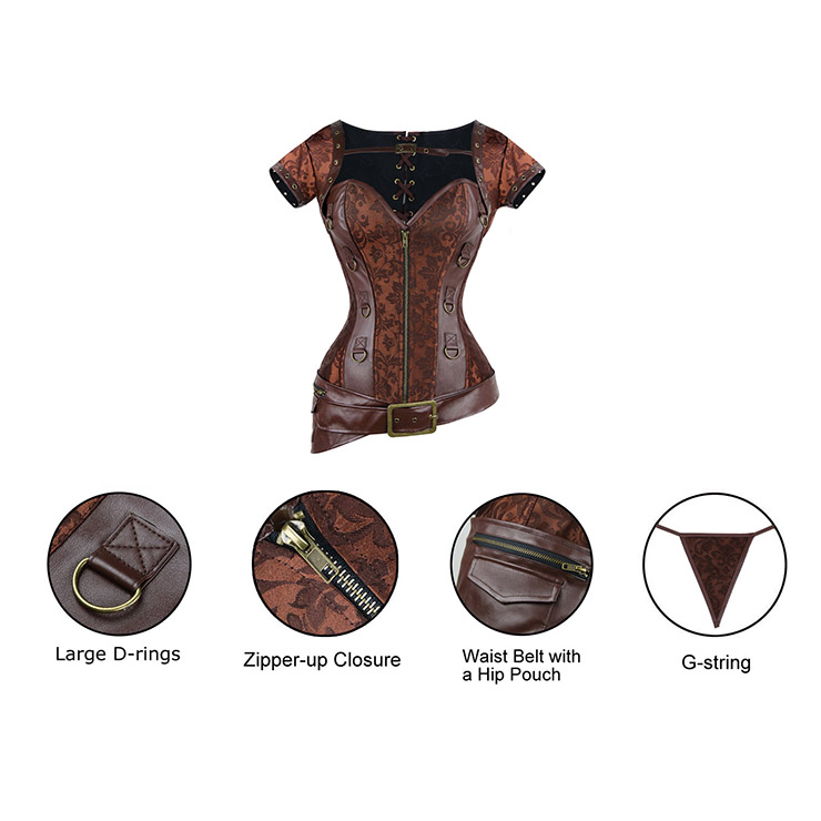 Coffee Faux Leather and Brocade Corset, Shrug & Belt D-Ring Corset, Steampunk Corset with Detachable Belt and Jacket, #N7941