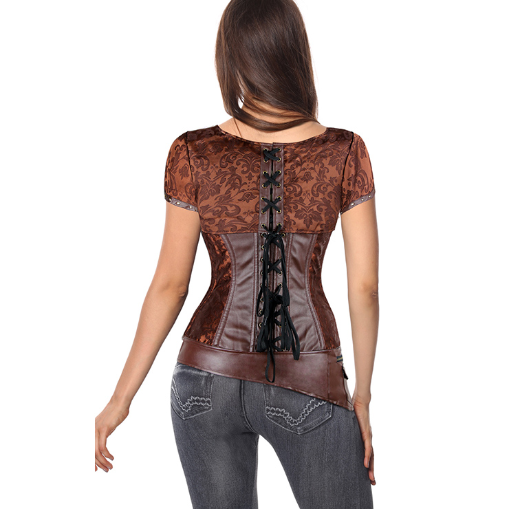 Brown Faux Leather and Brocade Corset, Shrug & Belt D-Ring Corset, Steampunk Corset with Detachable Belt and Jacket, #N7941