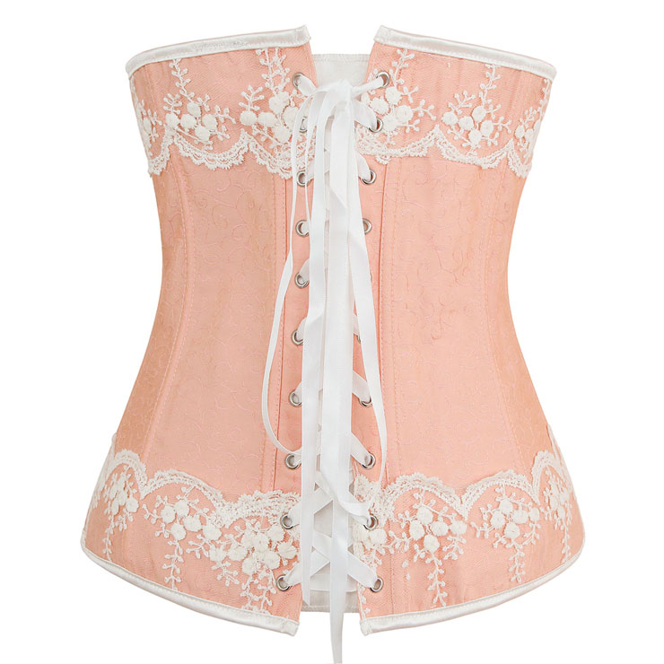 Pink and White Brocade Corset, Jacquard Fabric Corset, Pink Embroidered Corset, #N7705
