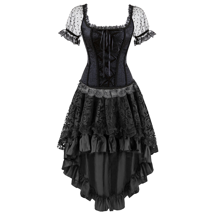 Brocade Lace Up Sleeved Corset Top&Skirt Set N13038