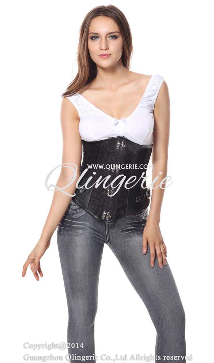 Steampunk Underbust, A gothic underbust corset, Brocade Long Line Steampunk Underbust, #N4916