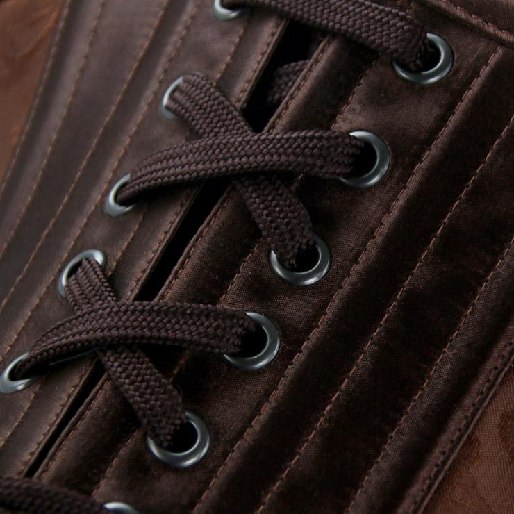 Brown Brocade Corset, Steel Boned Underbust Corset, Brown Steel Boned Underbust Corset, #N12424