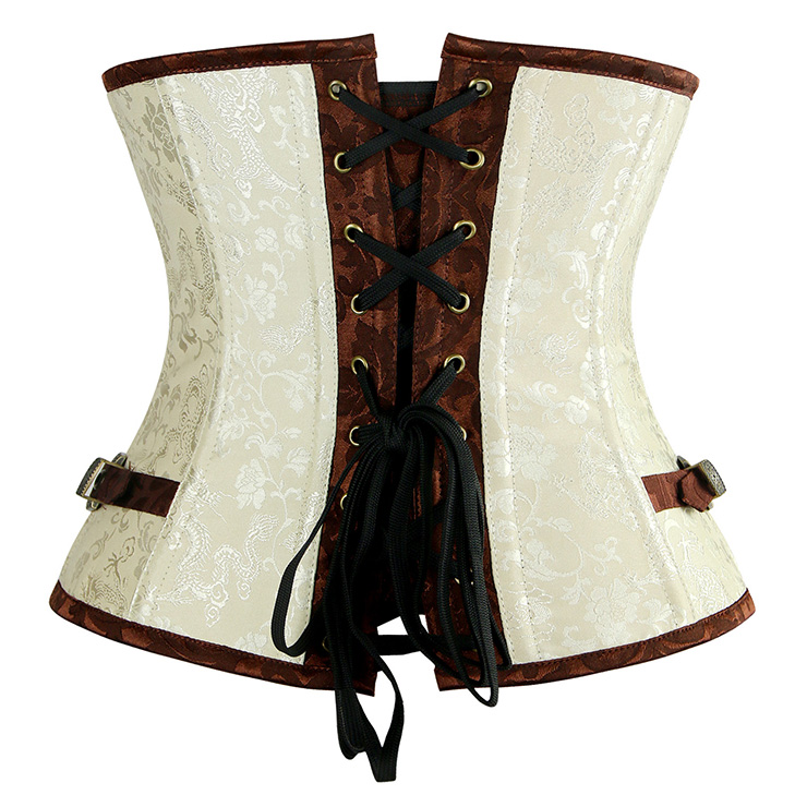 Cream and Brown Brocade Corset, Steel Boned Underbust Corset, Cream and Brown Steel Boned Underbust Corset, #N6224