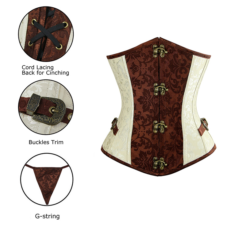 Cream and Brown Brocade Corset, Steel Boned Underbust Corset, Cream and Brown Steel Boned Underbust Corset, #N6224