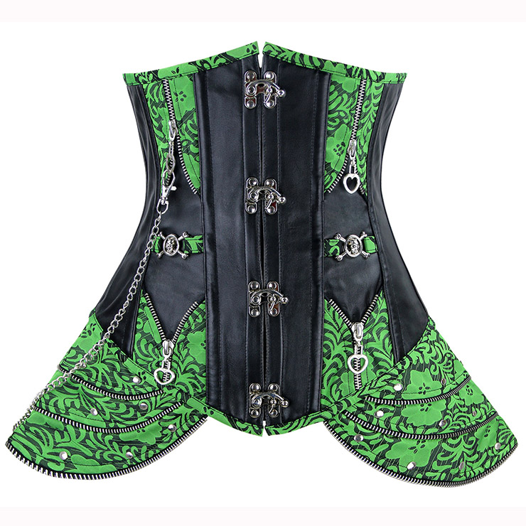 Green Brocade Underbust with Buckle Fastening N5726