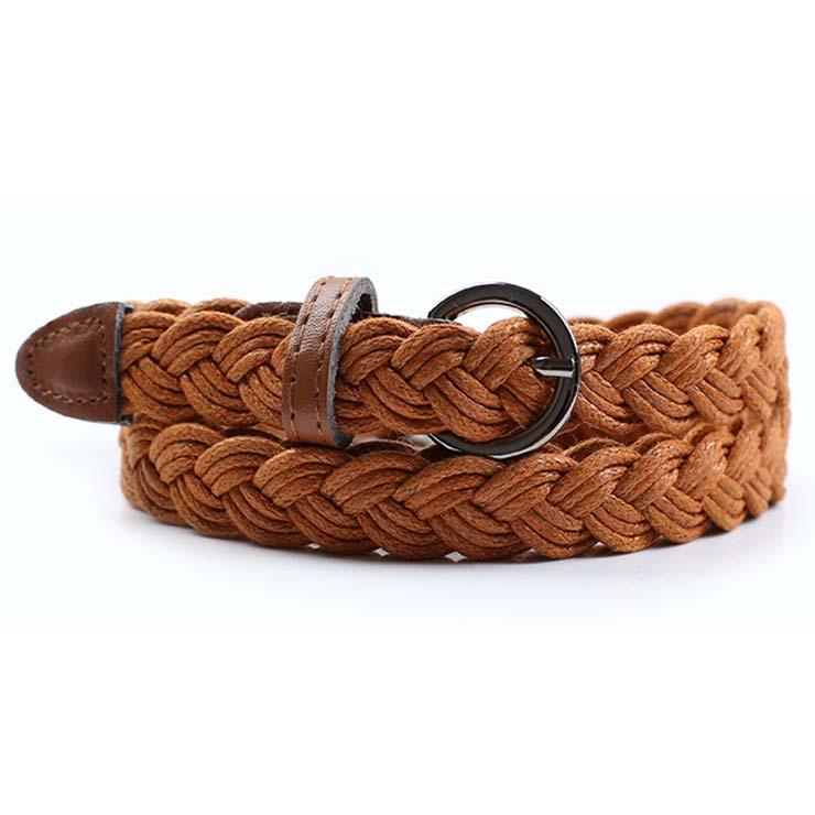 Women's Fashion Brown Braided Single Prong Buckle Thin Waist Belt N16057