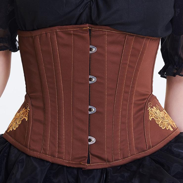 Vintage Brown Steel Boned Cotton Embroidery Waist Cincher Underbust Corset N12594