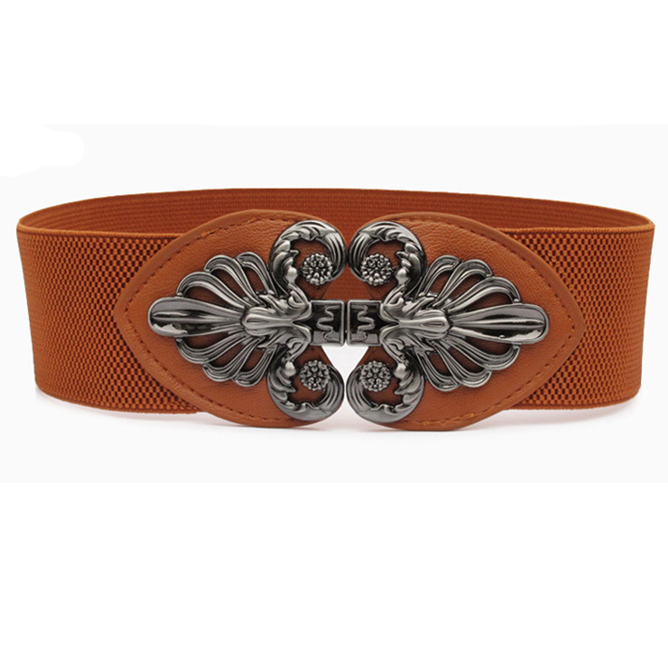 Fashion Brown Elastic Wide Waistband Floral Alloy Interlock Buckle Waist Belt N18254
