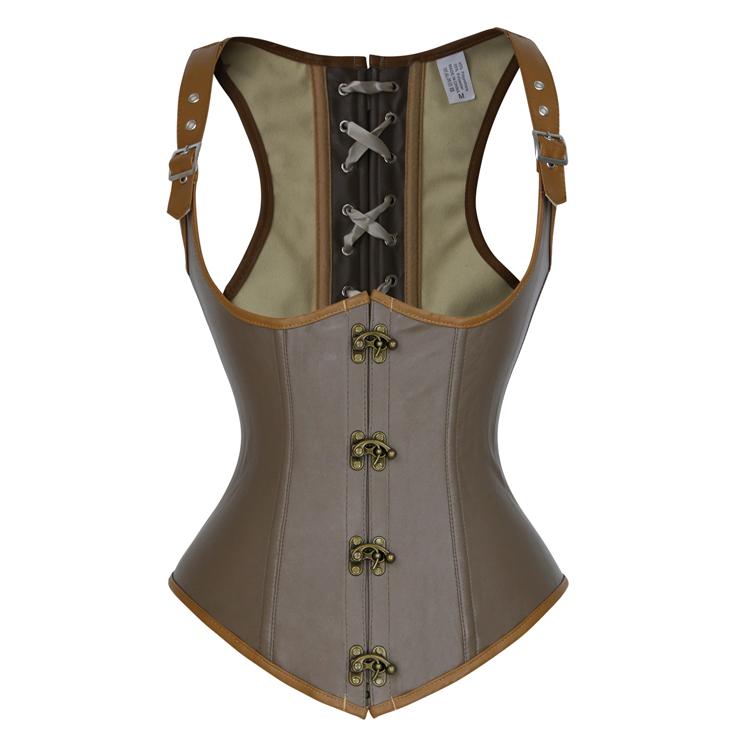 dc20559f629 Steampunk Brown Faux Leather Steel Boned Vest Underbust Corset N18021