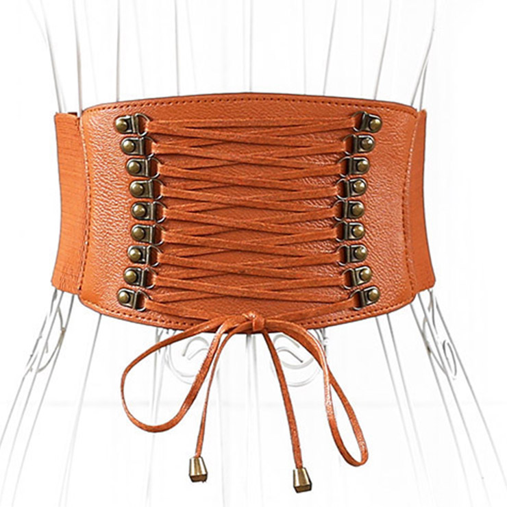 Brown Leather Front Lace Up High Waisted Cincher Corset Belt N14793