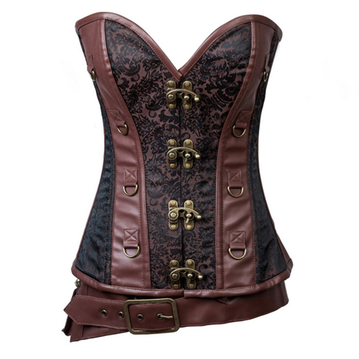 Steampunk Brown Jacquard Steel Boned Busk Closure Overbust Corset with Pouches Belt N21362