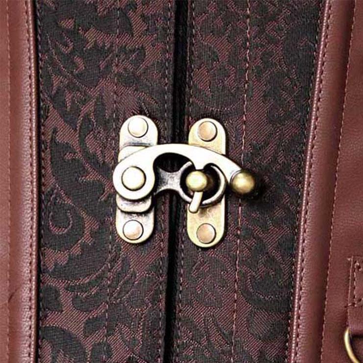 Plus Size Corset, Punk Steel Boned Corset, Vintage Brown Jacquard Outerwear Corset, Halloween Corset, Retro Brown Corset with Jacket, Steampunk Corset, #N21362
