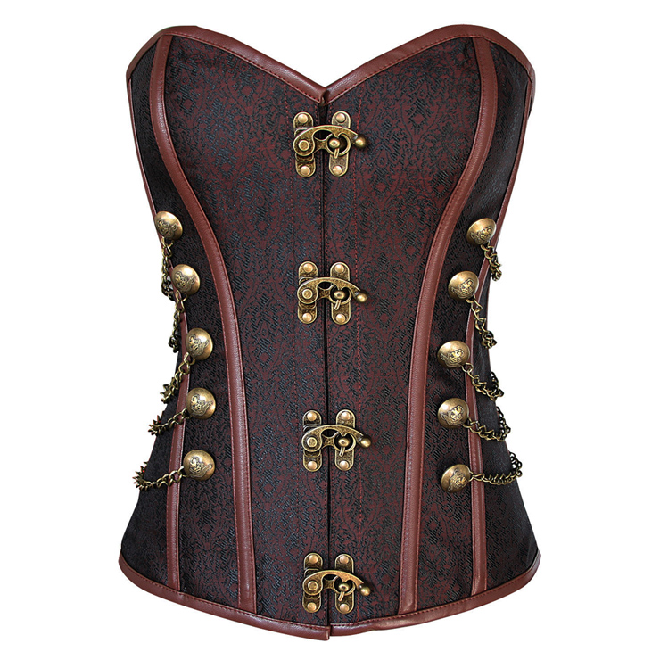Steampunk Brown Jacquard Steel Boned Busk Closure Outerwear Corset N10826