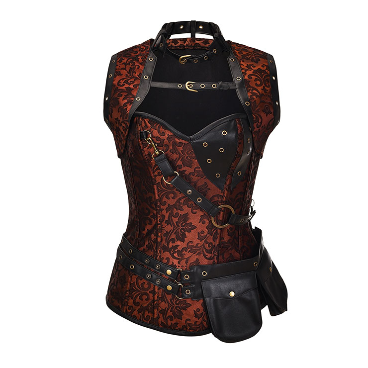 Steampunk Brown Jacquard Steel Boned High Neck Corset With Sleeveless Jacket N20608