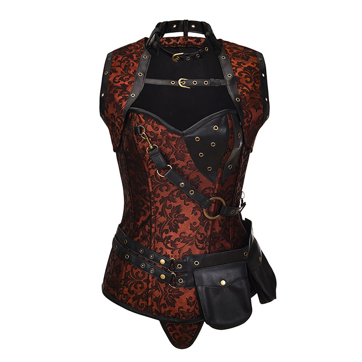 Sexy Halloween Corset, Steampunk Steel Boned Outerwear Corset, Cheap Jacquard Corset with Jacket, Vintage Brown Corset,Plus Size Corset,Women