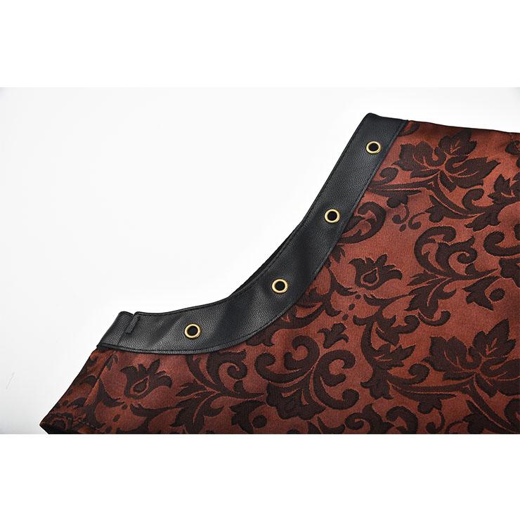 Sexy Halloween Corset, Steampunk Steel Boned Outerwear Corset, Cheap Jacquard Corset with Jacket, Vintage Brown Corset,Plus Size Corset,Women