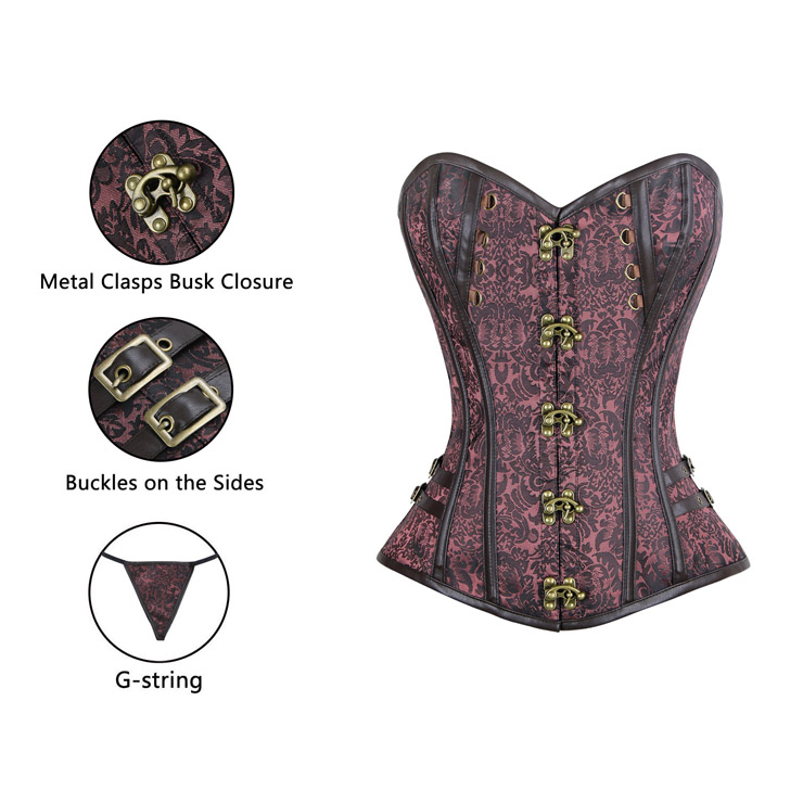 Brown Jacquard Weave Corse, Steampunk Brown Steel Bone Corset, Gothic Brocade Overbust Corset, Faux Leather and Brocade Overbust Corset, Cheap Outwear Corset, Steampunk Steel Boned Overbust Corset, #N10067