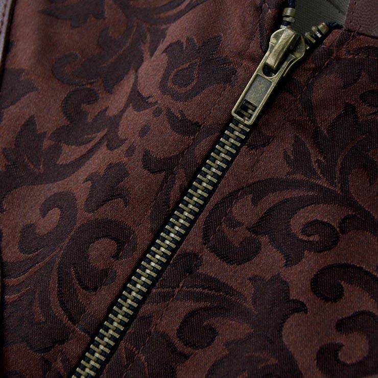 Steampunk Brown Underbust Corset, Sexy Steel Boned Corset, Hot Sale Brocade Corset with Jacket, Women