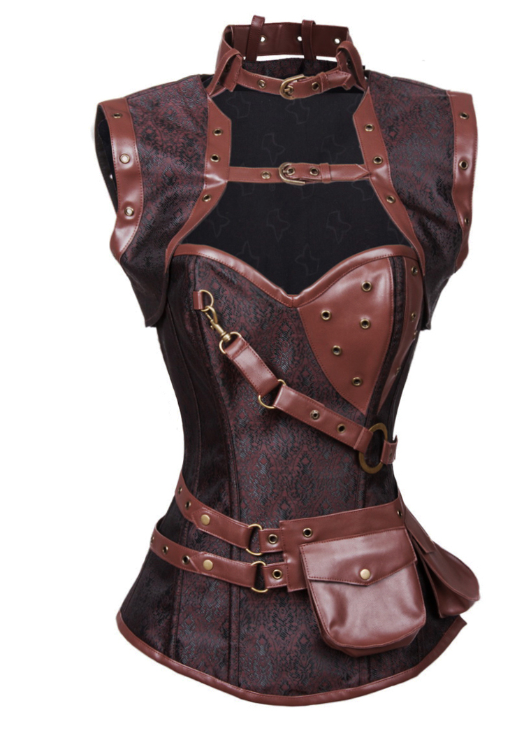 Sexy Halloween Corset, Steampunk Steel Boned Outerwear Corset, Cheap Jacquard Corset with Jacket, Vintage Brown Corset, #N10846