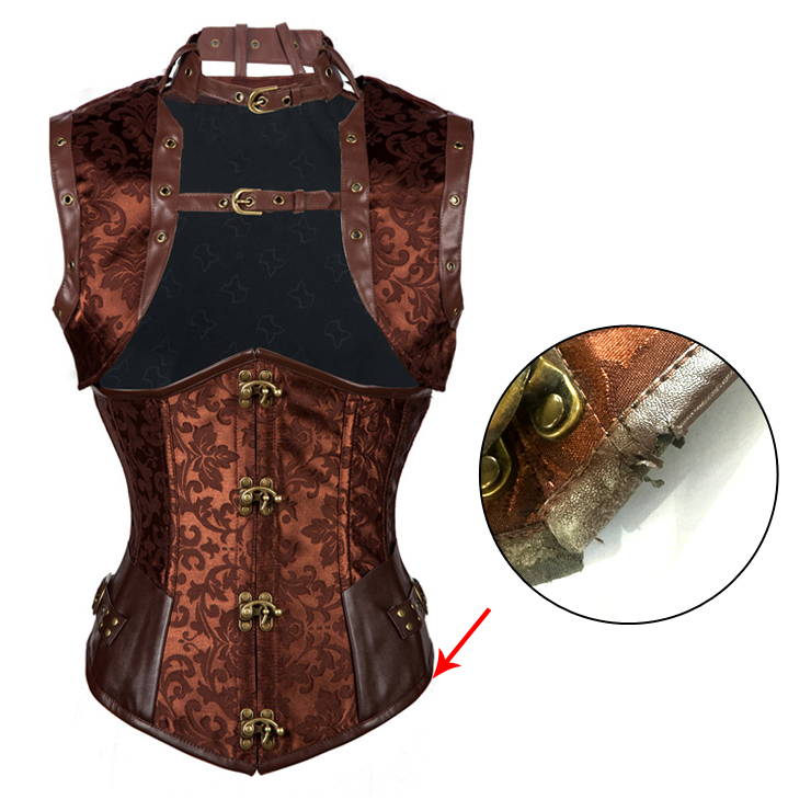 Vintage Brown Steel Boned Jacquard Busk Closure Underbust Corset with Jacket With A Little Defect N10938