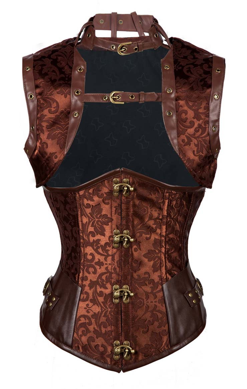 Steampunk Brown Underbust Corset, Sexy Steel Boned Corset, Hot Sale Jacquard Corset with Jacket, Women
