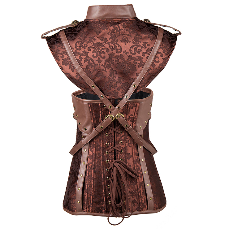 Steampunk Brown Underbust Corset, Sexy Steel Boned Corset, Hot Sale Jacquard Corset with Jacket, Women