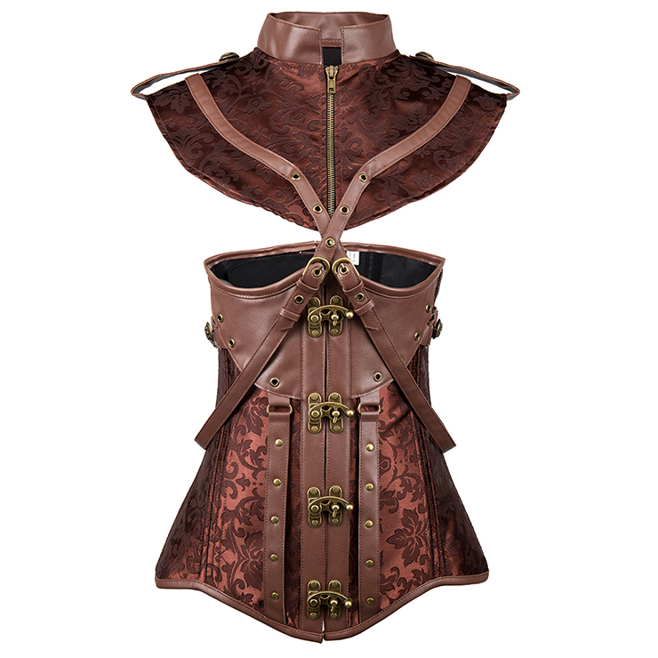 Women's Vintage Brown 16 Steel Boned Faux Leather Jacquard Underbust Corset with Shrug N15139